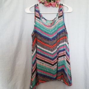 Filly Flair Multi-Colored Tank Top Size M